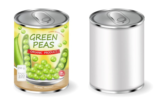 Green peas can package