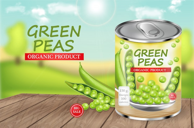 Green peas can realistic illustration