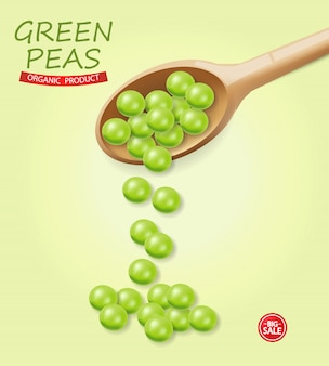 Green peas falling illustration