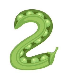 Green peas number 2 style vegetable food cartoon design flat vector illustration