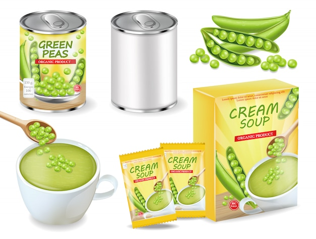 Green peas soup and can realistic collection