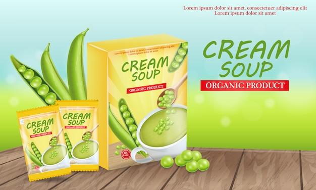 Green peas soup illustration