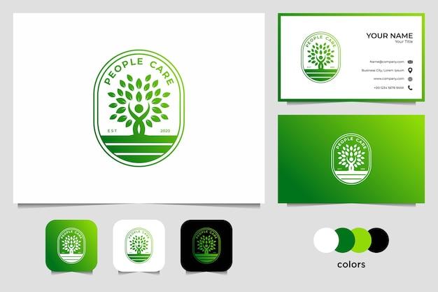 Дизайн логотипа заботы о зеленых людях и визитная карточка