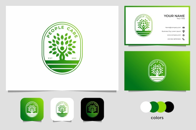 Green people care logo design and business card