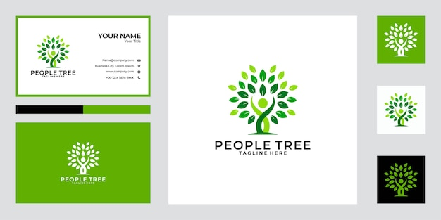 Green people tree logo design and business card