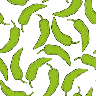 Green pepper vector seamless pattern. mexican chili spicy vegetable. hot paprika texture.