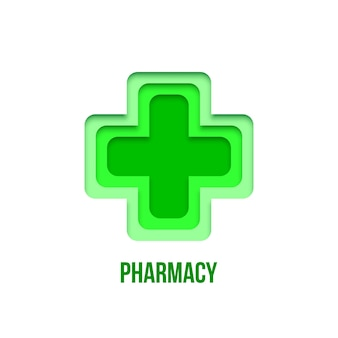 Green pharmacy sign isolated on white background