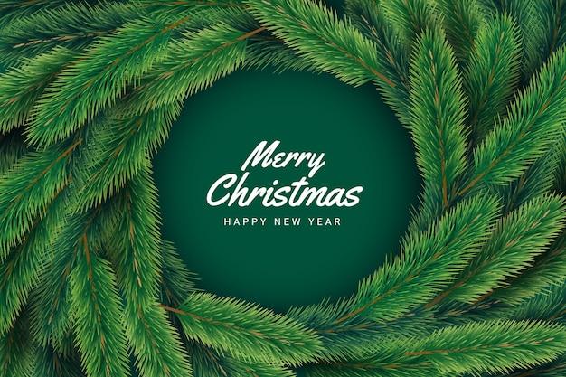 녹색 소나무 가지와 메리 크리스마스 글자