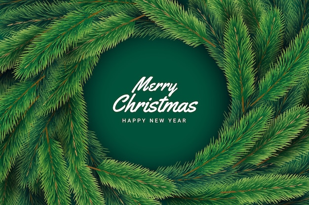 Green pine branches and merry christmas lettering