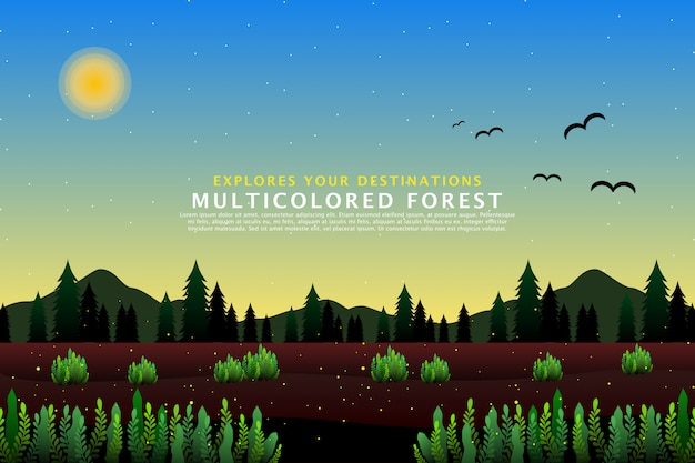 Green pine forest landscape template
