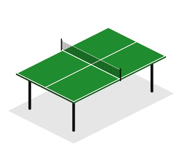 Green ping pong table is an isometric  illustration