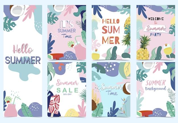 Green pink blue summer postcard with flower