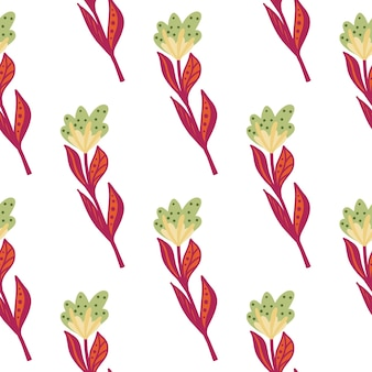 Green and pink colored decorative flowers seamless pattern. isolated floral backdrop. bloom print.