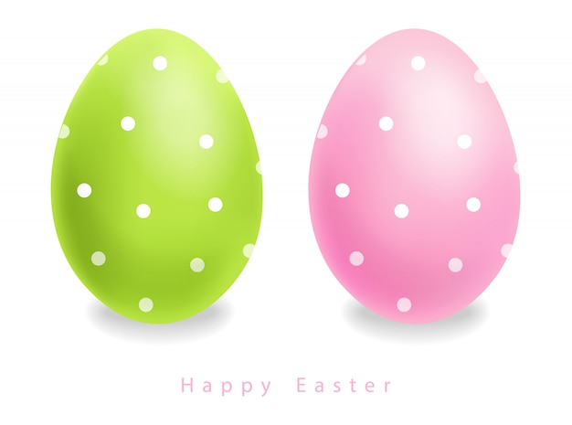 Green and pink easter eggs