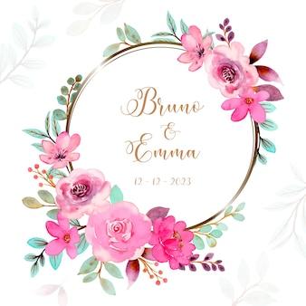 Corona di fiori rosa verde con acquerello