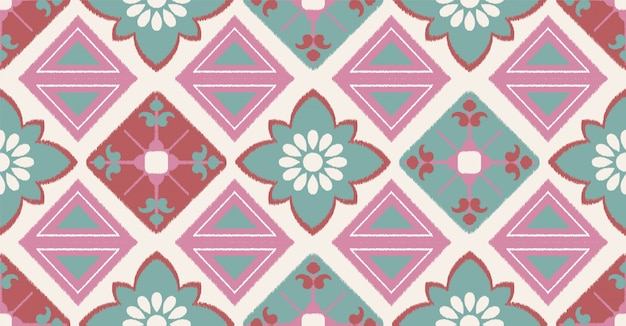 Green pink geometric seamless pattern in african style