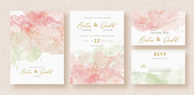 Green and pink splash abstract watercolor on wedding invitation