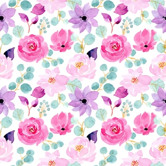 Green and pink watercolor floral seamless pattern