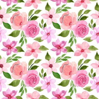 Green pink watercolor floral seamless pattern