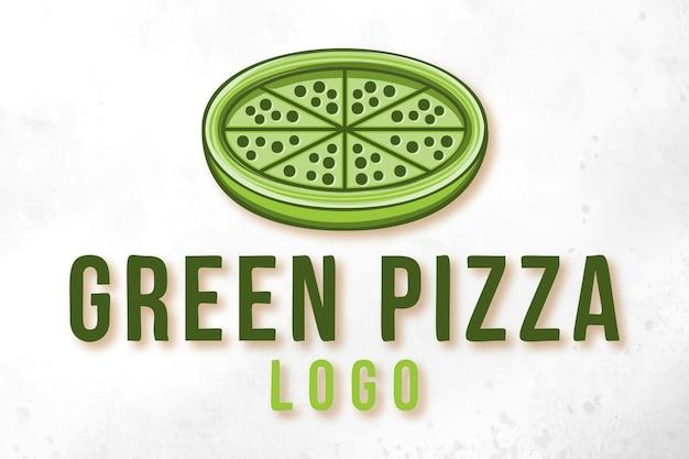 グリーンピザ、健康食品、ファーストフードのロゴデザイン