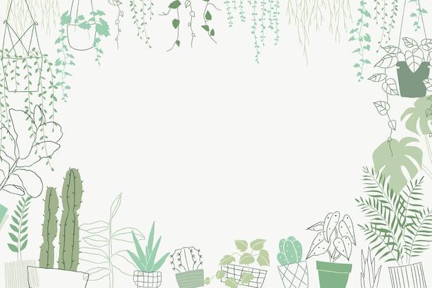 空白のスペースと緑の植物落書きフレームベクトル