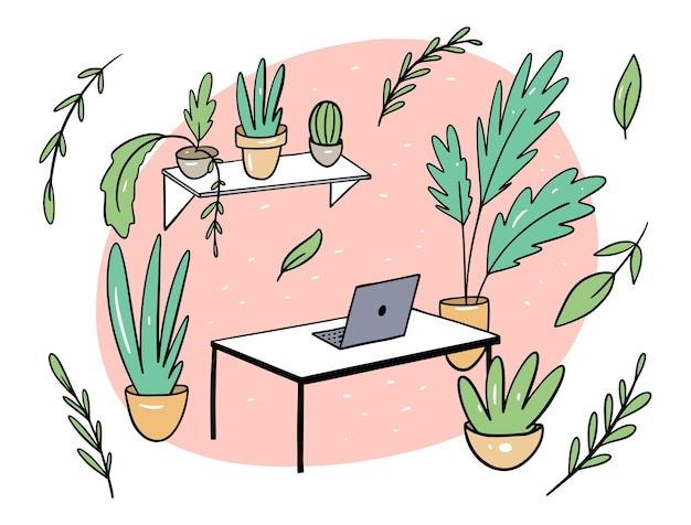 Green plants in office flat illustration in cartoon style. comfortable workplace. isolated on white background