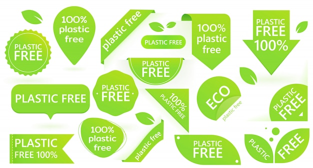 Green plastic free badge. environment pollution. eco.