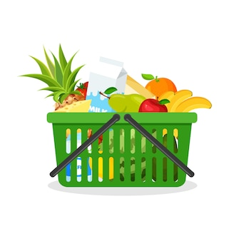 Green plastic shopping cart full of fruit and vegetables. supermarket basket with food. groceries in a trendy flat style. farming, fresh food and organic agriculture.