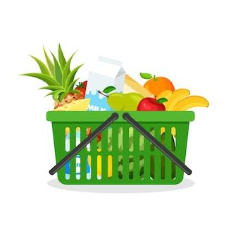 과일과 채소의 전체 녹색 플라스틱 쇼핑 카트. 음식과 슈퍼마켓 바구니. 트렌디 한 플랫 스타일의 식료품. 농업, 신선한 식품 및 유기 농업.