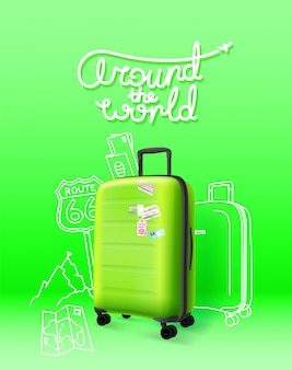 Green plastic suitcase on green background. around the world
