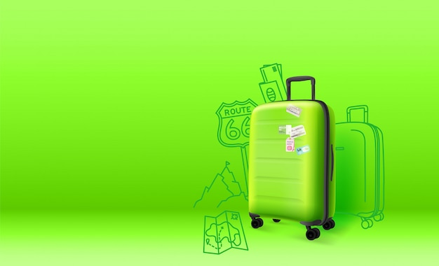 Green plastic suitcase on green background.