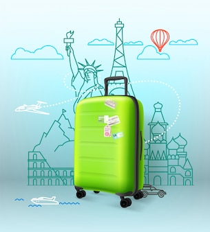 Green plastic suitcase with famous sightseengs