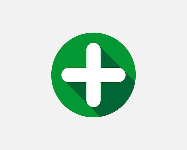 Зеленый знак плюса. векторный icon. крест символ руководства по безопасности.