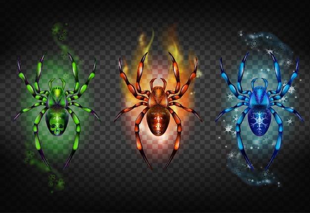 복부에 두개골과 녹색 독, 붉은 타오르는 불꽃