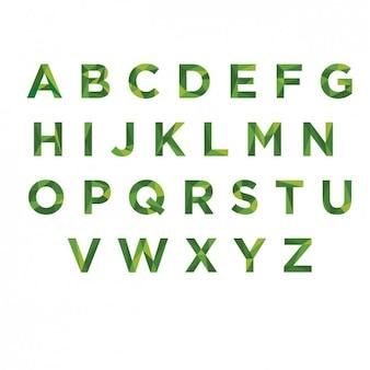 グリーンpoligonalタイポグラフィ