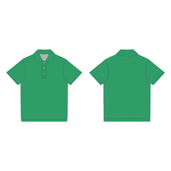 Green polo t-shirt design template. front and back technical sketch unisex polo t shirt.