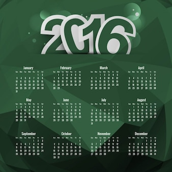 Green polygonal 2016 calendar