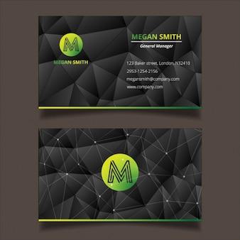 Green polygonal business card tempalte