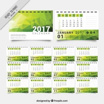 Green polygonal calendar 2017