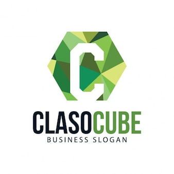 Green polygonal logo template