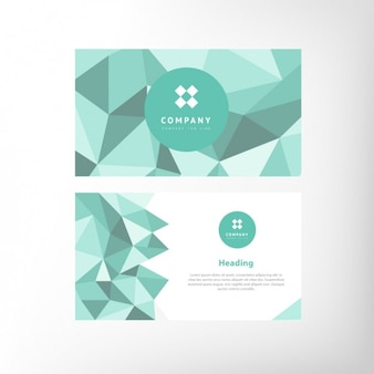 Green polygonal shapes business card