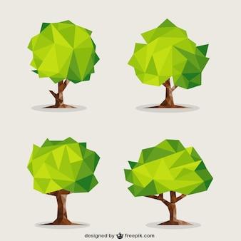 녹색 다각형 나무