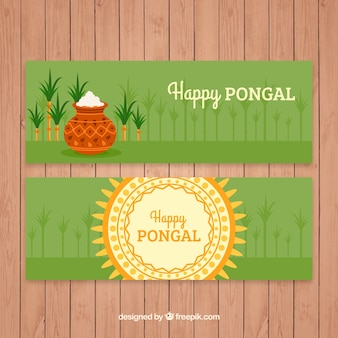Green pongal banners with sugarcane