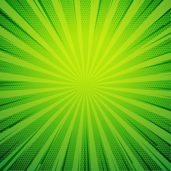 緑のポップアート漫画本のスタイルレトロな背景と爆音レイ