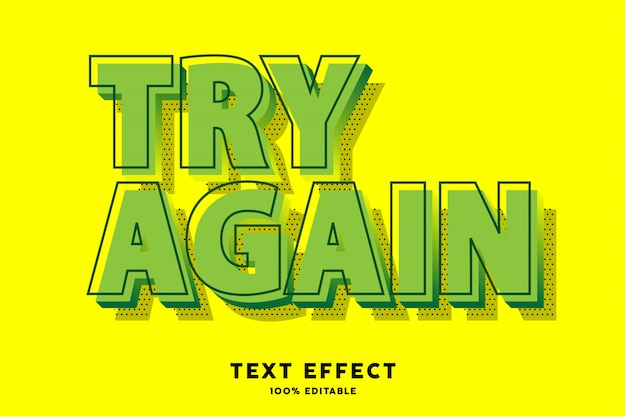 Green pop art text effect, editable text