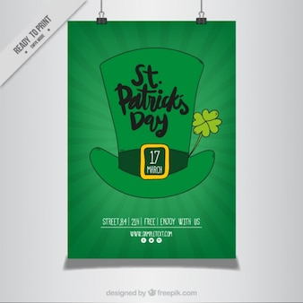 Green poster of saint patrick's day hat