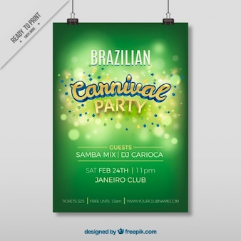 브라질 카니발 스케치와 녹색 포스터