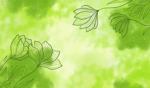 Green powder pastel with hand drawn flowers background