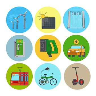 Green power and eco transport flat line icons