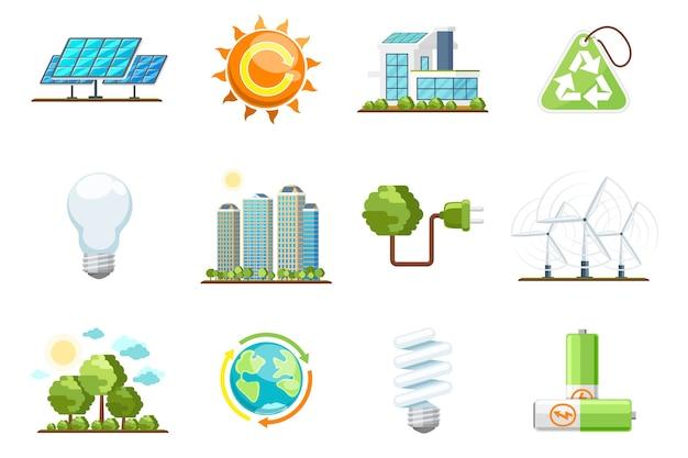緑の電源アイコン。エコクリーンエネルギーセット。自然と環境、エネルギーバイオ太陽、グリーンエネルギーベクトルアイコンのリサイクル